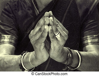 Sacred Mudra - The hands of an Indian dancer in temple...