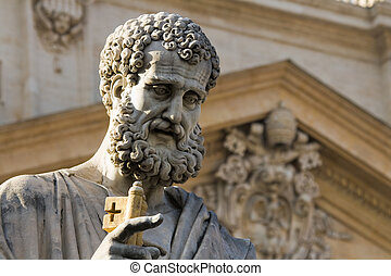 Sacred Peter's statue in Vatican. Detail - Statue of Saint...