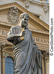 Sacred Peter\'s statue in Vatican.Rome, Italy. Detail