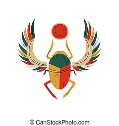 Sacred Scarab Egyptian Beetle, Symbol of Traditional Egyptian Culture Vector Illustration