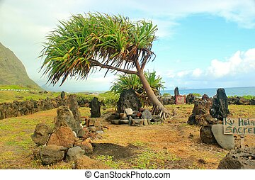 An historic sacred site of worship on the island of Oahu in Hawaii