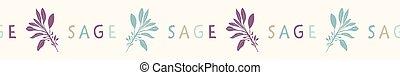 Sacred Smudging Sage Leaf Seamless Vector Border. Hand Drawn Spiritual Plant