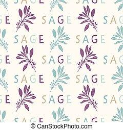 Sacred Smudging Sage Leaf Seamless Vector Pattern