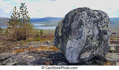 Sacred stone on top of mountain - Stone of a peculiar form, ...