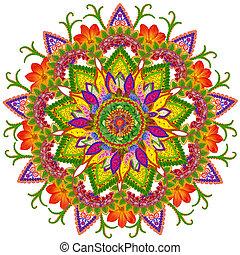 Sacred Sun mandala - Floral mandala - the Sacred Nine Rays...