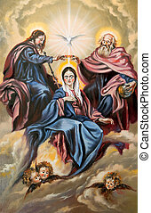 Sacred Trinity and the Mother of god - God the son, god the...