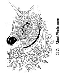 sacred unicorn with roses - adult coloring page
