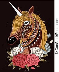 sacred unicorn coloring page