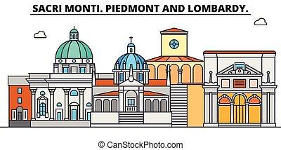 Sacri Monti. Piedmont And Lombardy line travel landmark,...