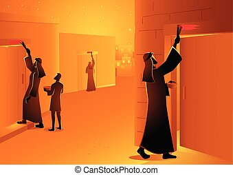Biblical vector illustration series, Israelites marked the doorpost during passover
