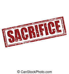 Sacrifice-stamp - Grunge rubber stamp with word...