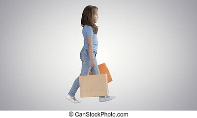 sacs, école, achats, gradient, marche, gai, arrière-plan., girl