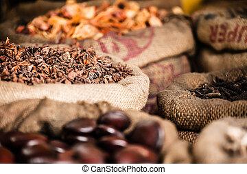 sacs, épices, inde, marché, herbes