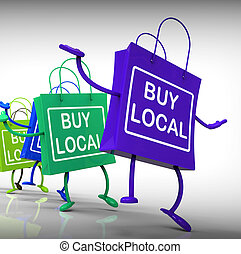sacs, achat, voisinage, business, exposition, marché local
