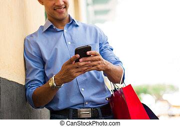 sacs, achats, écriture, téléphone, américain, africaine, message, homme