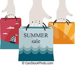 sacs, achats, été, vente, sales., tenant mains, promouvoir