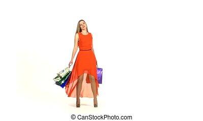 sacs, achats, blond, beau, sourire, fond, girl, robe, blanc rouge