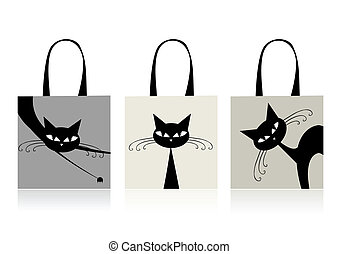 sacs, achats, chats, conception, gracieux, noir