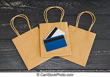 sacs, achats, commercialisation, cartes, paiement, les, une, concept, groupe
