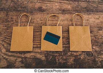 sacs, achats, commercialisation, papier, groupe, paiement, carte
