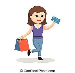 sacs, achats, deux, crédit, girl, carte
