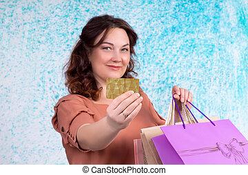 sacs, achats femme, banque, papier, sourire, coloré, carte, spectacles