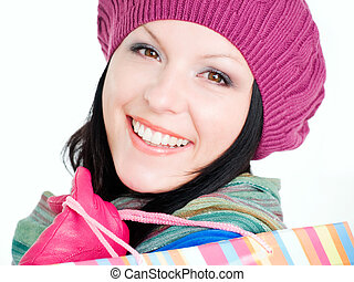 sacs, achats femme, brunette, closeup, tenue, automne, sourire, vêtements