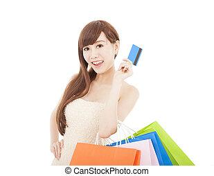 sacs, achats femme, carte de débit, heureux