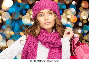 sacs, achats femme, chapeau hiver, noël