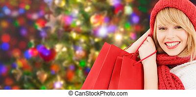 sacs, achats femme, chapeau rouge, écharpe