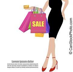 sacs, achats femme, coloré, main, crédit, noir, robes, fond, blanc, carte