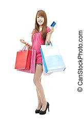 sacs, achats femme, crédit, asiatique, carte, heureux