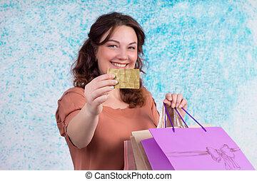 sacs, achats femme, crédit, papier, sourire, coloré, carte, spectacles