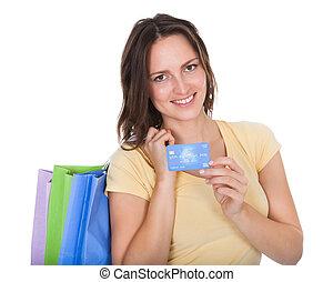 sacs, achats femme, crédit, tenue, carte