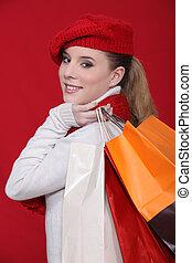 sacs, achats femme, elle, mode, tenue