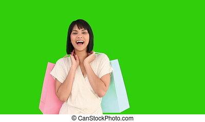 sacs, achats femme, elle, regarder, appareil photo, asiatique
