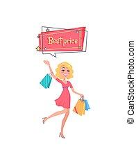 sacs, achats femme, habillé, mains, rouges