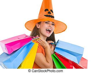 sacs, achats femme, halloween, jeune, chapeau, heureux