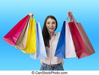 sacs, achats femme, heureux, main