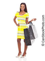 sacs, achats femme, jeune, africaine