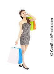 sacs, achats femme, jeune, asiatique, heureux