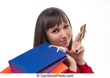 sacs, achats femme, jeune, crédit, papier, tenue, coloré, carte