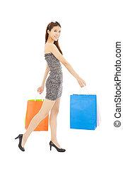 sacs, achats femme, jeune, heureux