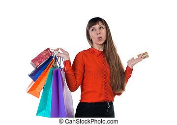 sacs, achats femme, jeune, multicolore, crédit, papier, tenue, carte