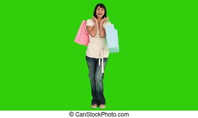 sacs, achats, femme, joli, asiatique