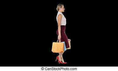 sacs, achats femme, marche, main, papier, longueur, entiers,...