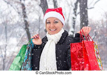 sacs, achats femme, noël heureux, avant
