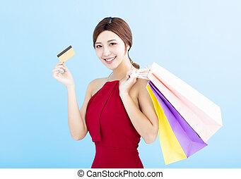 sacs, achats femme, projection, jeune, carte de débit