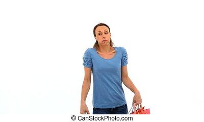 sacs, achats femme, tenue, fatigué