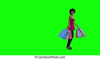 sacs, achats femme, tenue, heureux